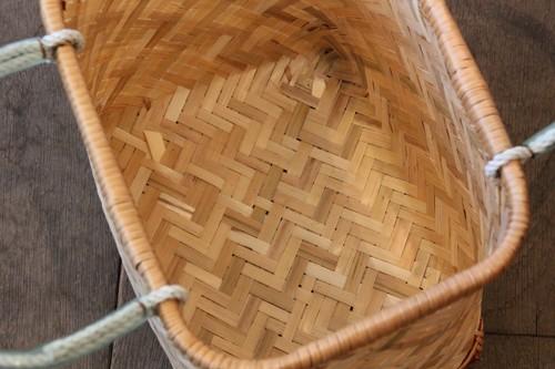竹のスクエア型手付きかご