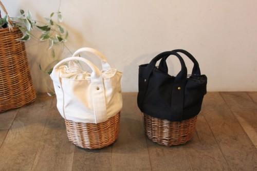 帆布×柳のかごバッグ
