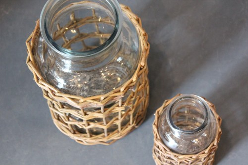 柳×ガラスのボトル型フラワーベース