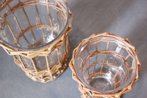 柳×ガラスのタンブラー型フラワーベース