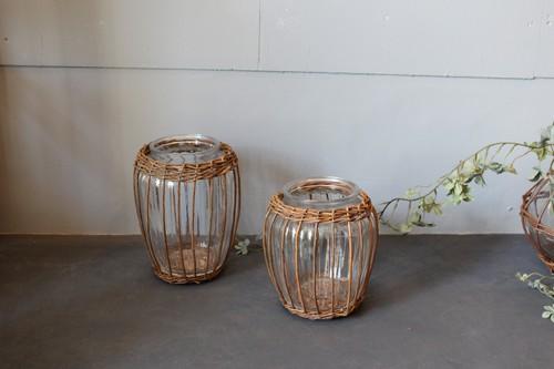 柳×ガラスのポット型フラワーベース