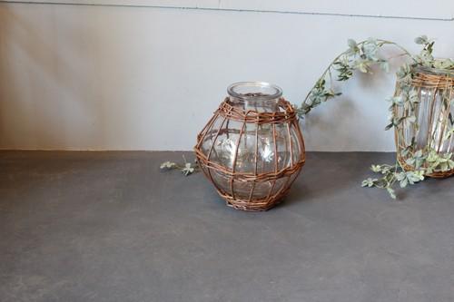 柳×ガラスのラウンドフラワーベース