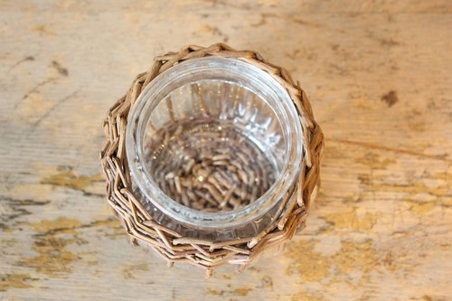 柳とガラスのラウンド型ミニフラワーベース