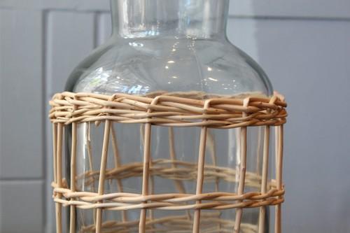 柳とガラスのラティス編みフラワーベース