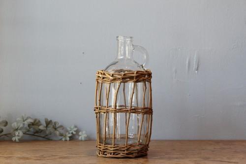 柳とガラスのかご編みボトルフラワーベース