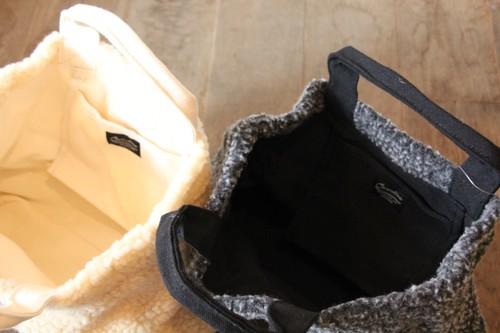 柳×ボアのトートかごバッグ