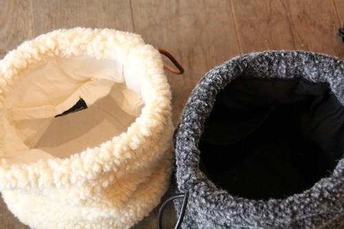 柳×ボアの巾着かごバッグ
