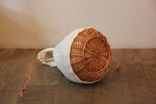 柳のキルティング巾着かごバッグ
