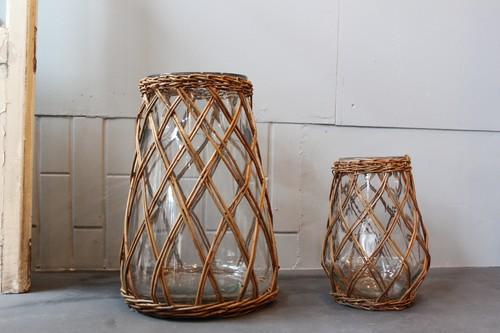 柳とガラスの大きめフラワーベース