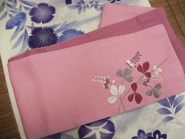 撫松庵麻刺繍半巾帯「ピンク」