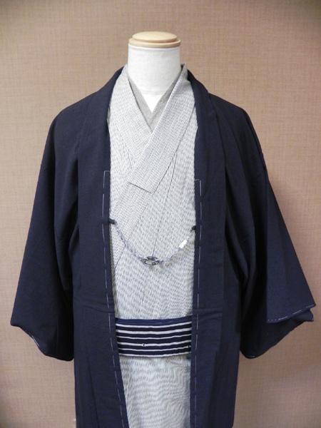 [TAKUMI]木綿着物「縞(生成)」に古布紬羽織