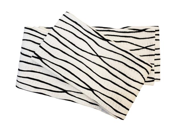 三勝木綿細帯「白地よろけ縞」