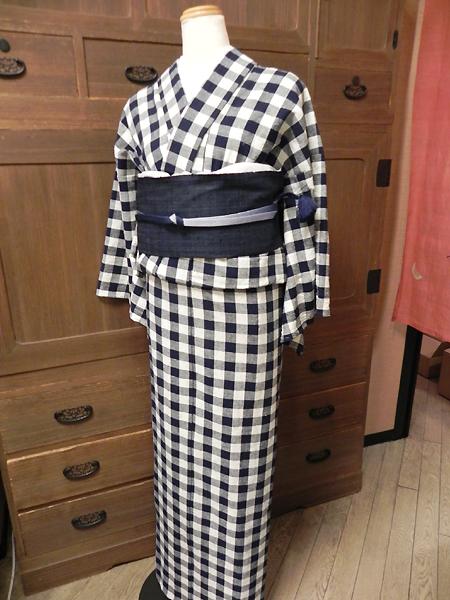 藍染木綿着物「備後絣No.108/弁慶格子」