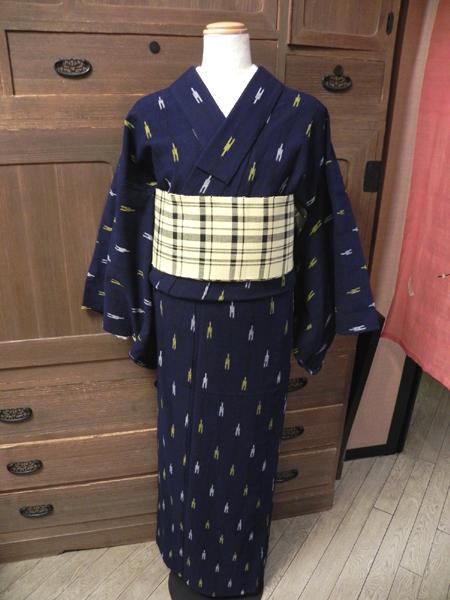 藍染木綿着物「備後絣No.110/黄色/白」