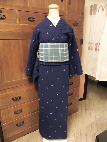 藍染木綿着物「絣」No.117