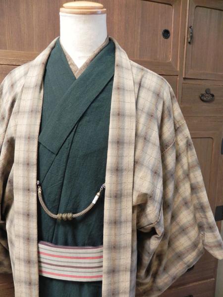 藍染木綿着物「藍染グリーンNO.18」先染木綿羽織「窓枠格子」