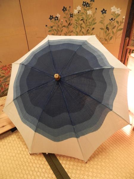 麻日傘「藍染ぼかし/生成」