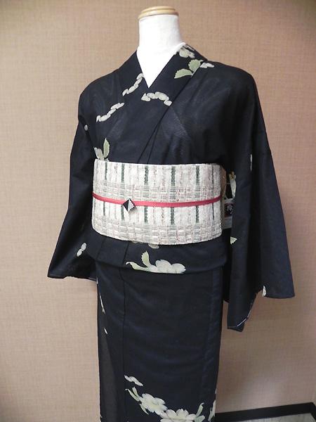 綿絽小紋の着物