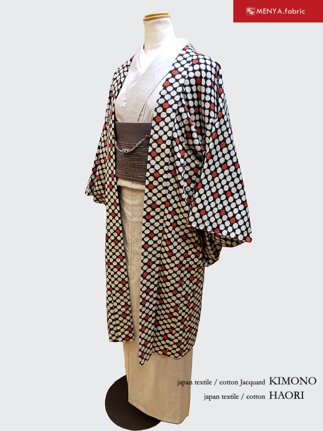 あずみ野木綿着物/ビー玉柄木綿羽織