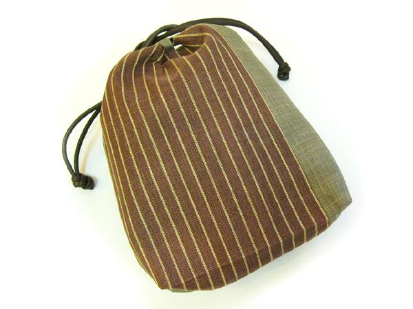 手織麻布「縞巾着」茶
