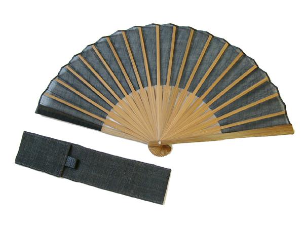 手織麻布「革使い扇子」黒