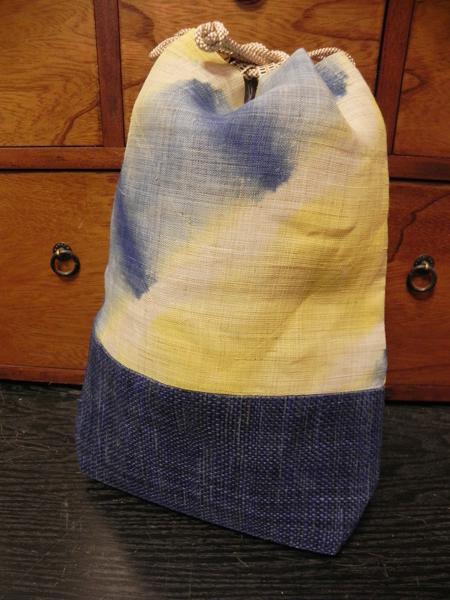 板締め巾着(青)