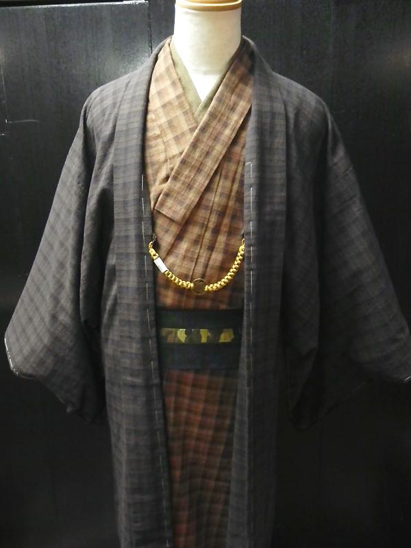 先染木綿(BLOCK CHECK)着物&羽織