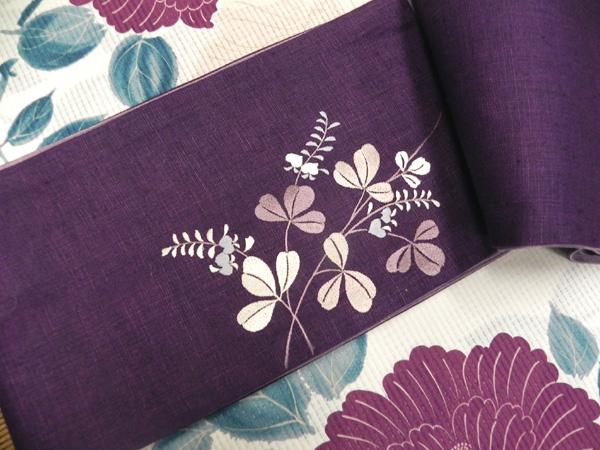 撫松庵麻刺繍半巾帯「紫」
