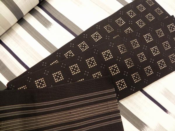 正絹博多織角帯「黒」