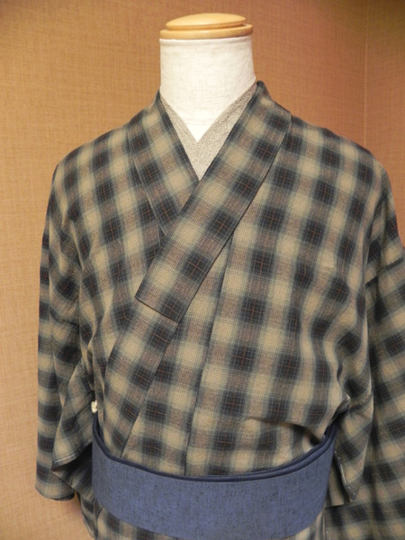 カラフルチェックの木綿着物