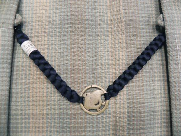 正絹羽織紐「千鳥/紺」男性用