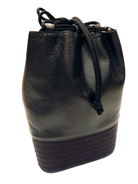 正絹組紐本革製「合切袋/黒・黒」