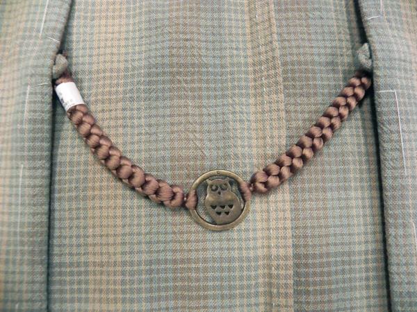 正絹羽織紐「ふくろう/茶」男性用