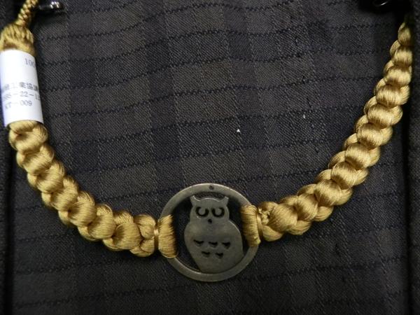 (メンズ)正絹羽織紐「フクロウ/辛子」