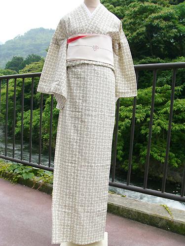 染絣大島の木綿着物「花格子文様」MOK-SKO-T7152
