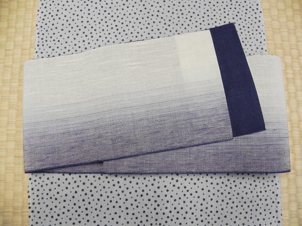麻四寸帯「藍色ぼかし」