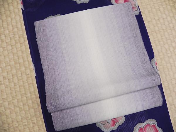麻兵児帯「紫ぼかし」