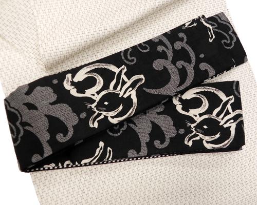 木綿角帯「黒地/波兎」