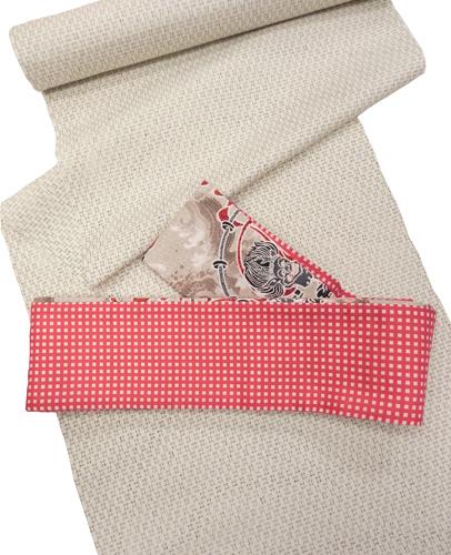 木綿角帯「ベージュ/波雷神」裏:赤格子
