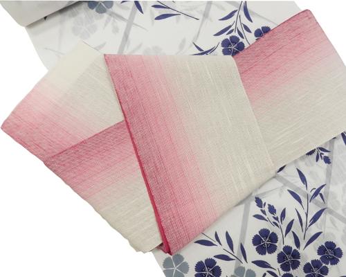 麻半巾帯「生成(赤)ぼかし」裏:赤無地