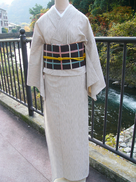 [織木綿]絣縞木綿着物