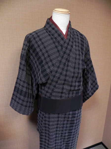 「刺し子格子」の木綿着物[M111024]