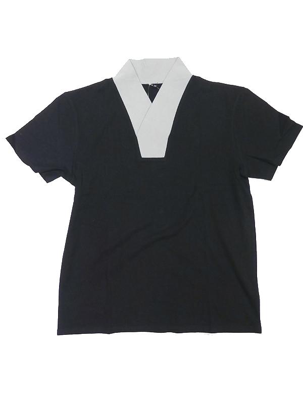 メンズ着物用肌着Tシャツタイプ「半衿付/ライトグレー」