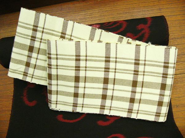 木綿半巾帯「シンプル格子」