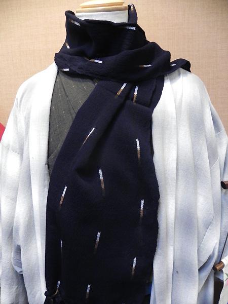 久留米絣のショール(紺地絣)