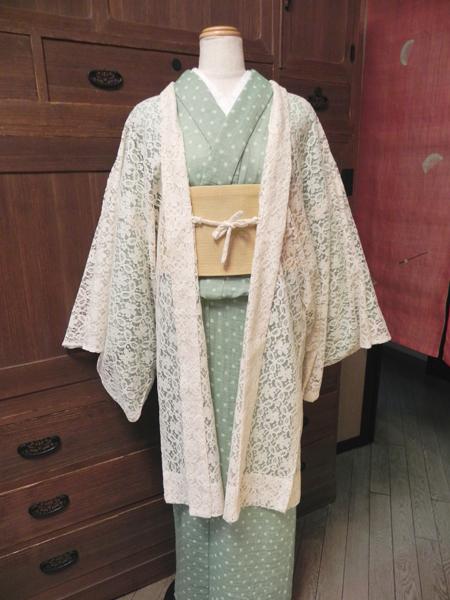 [撫松庵]綿レースひとえ羽織(白)