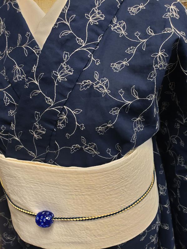 コットンキモノ「floral Lace」単仕立て付き