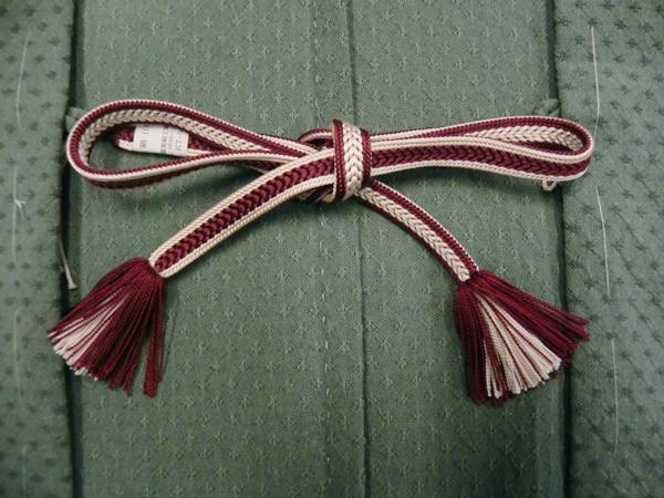 正絹羽織紐「結紐/臙脂・灰梅」女性用