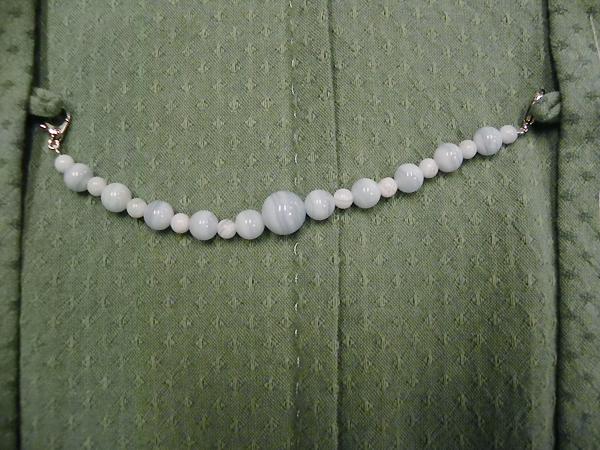 天然石羽織紐「ブルーレースアゲート」女性用
