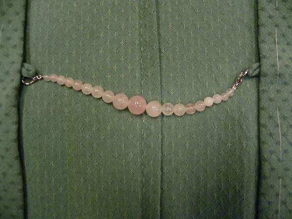 天然石羽織紐「ローズクオーツ」女性用